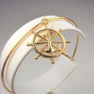 Jewelry - NAUTICAL GOLD TONE SHIPS WHEEL & ANCHOR BRACELET